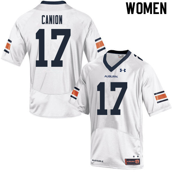 Women #17 Elijah Canion Auburn Tigers College Football Jerseys Sale-White